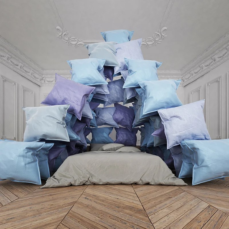 cyril lancelin imagines a pyramid of pillows as the ultimate symbol to stay home
