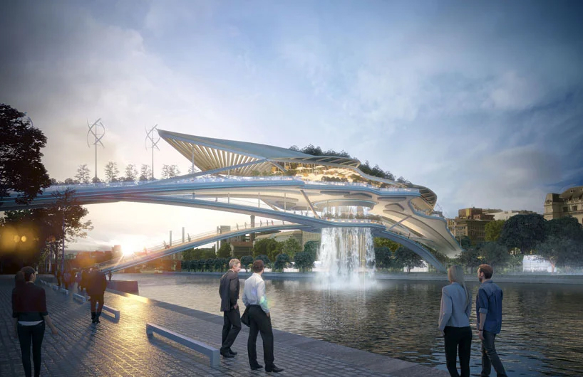 """rescubika envisions """"babylon bridge"""" with waterfall over the seine in paris"""