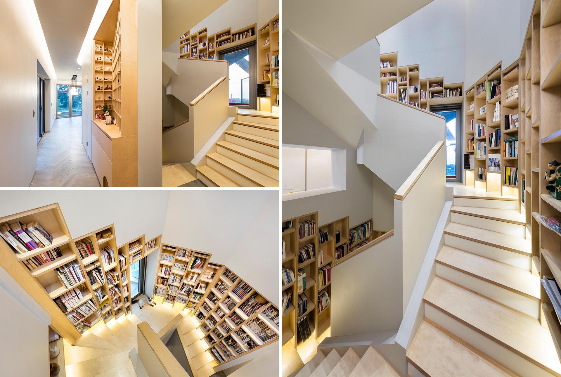 کتابخانه توکار در راه پله های خانه ای در کره جنوبی