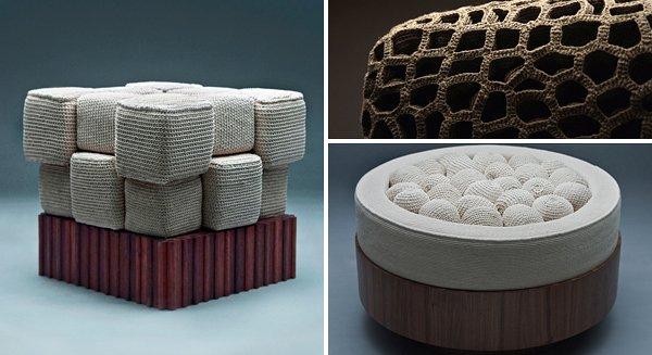 ساخت مبلمانی از نوع بافندگی و قلاب دوزی
