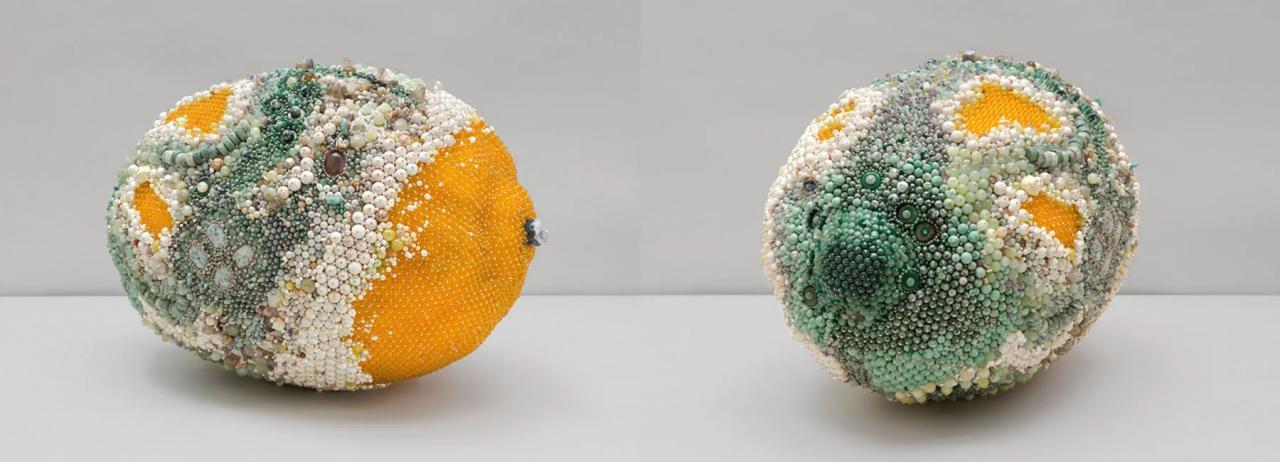 kathleen ryan creates moldy fruit sculptures from semi precious gemstones