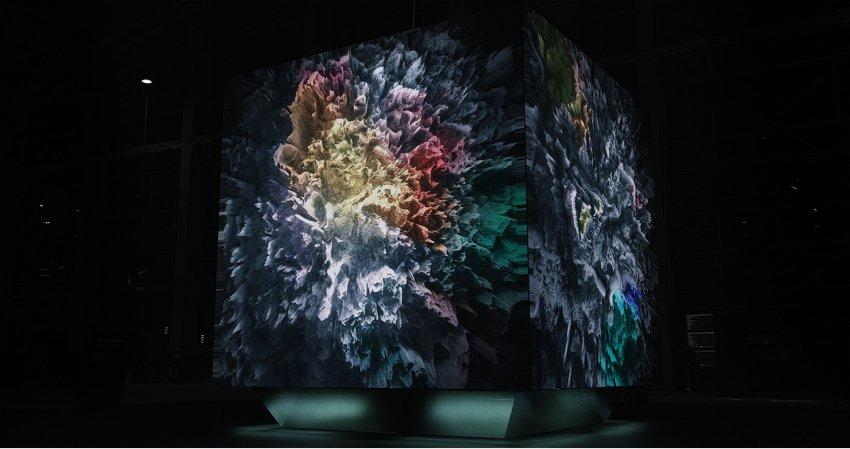 this real-time media sculpture illustrates big data through abstract art