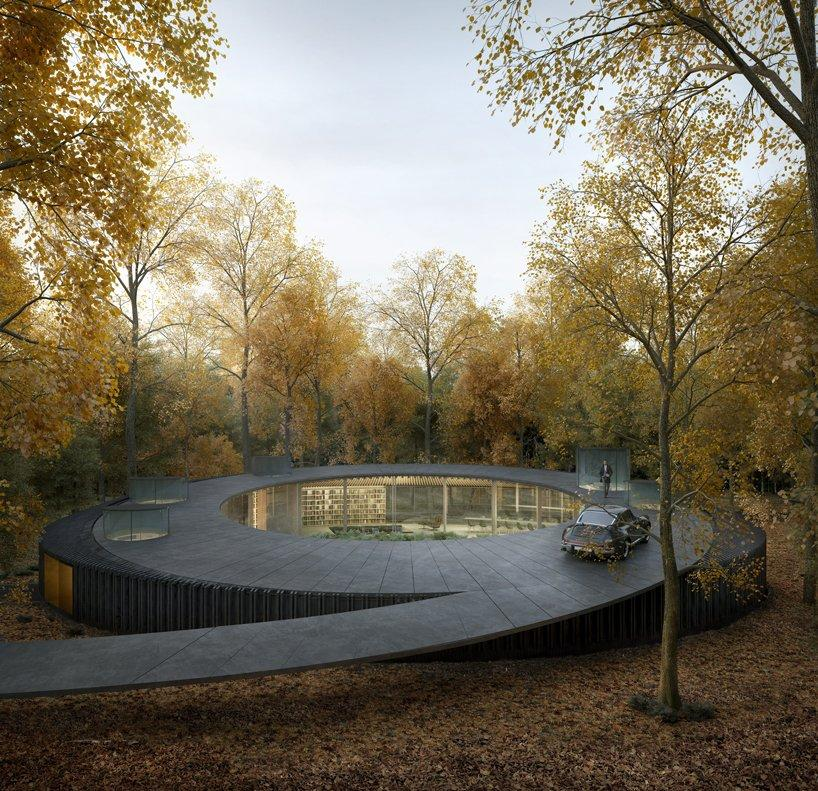 marchi architects woodhouse 2.0 coils through the forests of long island, new york