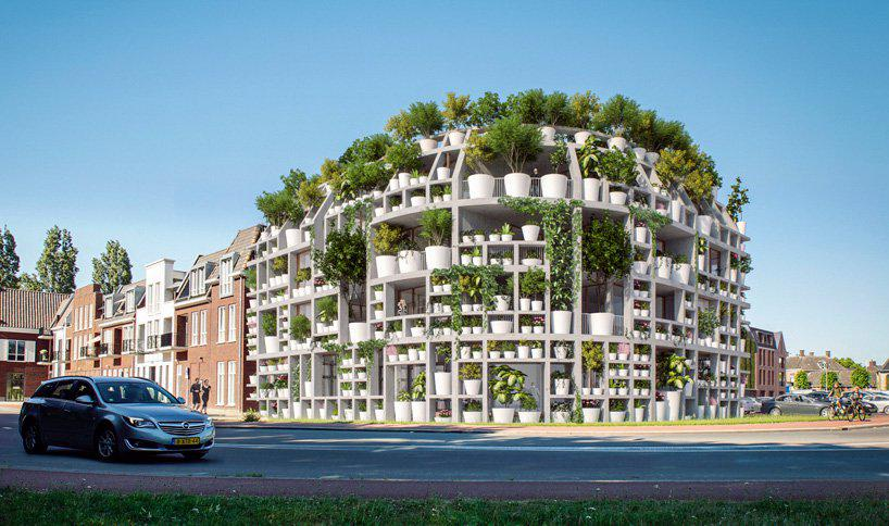MVRDV plans green villa, an office + residential building covered in plants in the netherlands