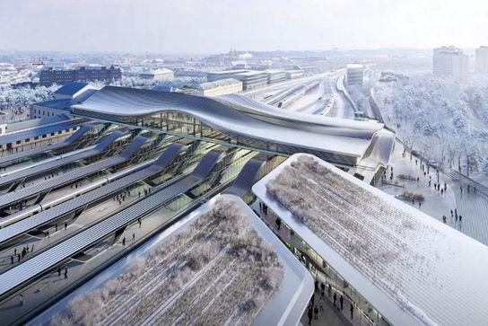 طراحی یک پل با سقف چوبی منحنی توسط معماران زاها حدید در اروپای شرقی
