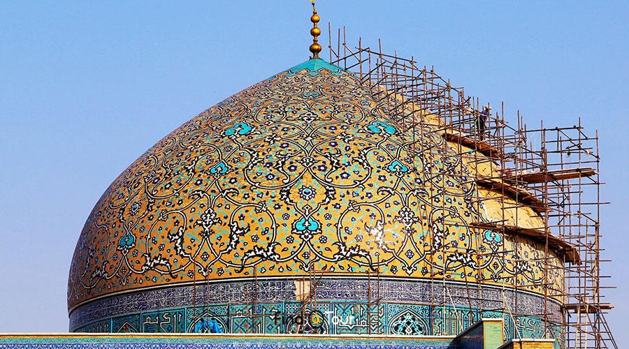 خبرهایی از مرمت گنبد مسجد شیخ لطفالله